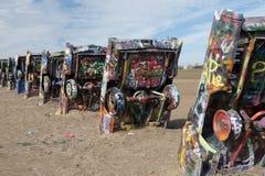 Instalación del rancho de Cadillac en Amarillo, Tejas Foto de archivo libre de regalías
