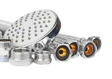 Instalaci wodnokanalizacyjnej dopasowanie, hosepipe i showerhead, Fotografia Royalty Free