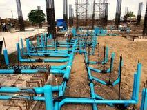 Instalaci wodnokanalizacyjnej linia Dla Sanitarnego systemu obraz royalty free