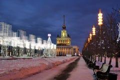 Instalaciones de la luz del Año Nuevo en el callejón de la gloria en VDNKh Imagenes de archivo