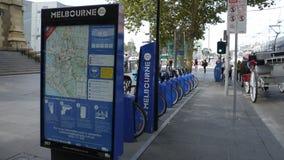 Instalaciones del alquiler de la bicicleta, Melbourne Australia fotos de archivo libres de regalías
