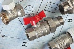 Instalacj wodnokanalizacyjnych dopasowania na rysunku Zdjęcia Stock