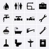 Instalacj wodnokanalizacyjnych ikony. Obrazy Royalty Free