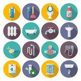Instalacj wodnokanalizacyjnych ikony ustawiać Obraz Stock