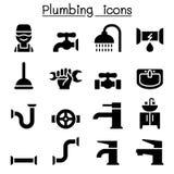 Instalacj wodnokanalizacyjnych ikony ustawiać Zdjęcie Stock