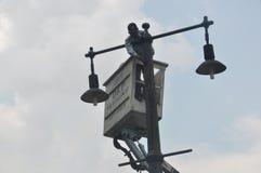 Instalacja latarnie uliczne Zdjęcie Royalty Free