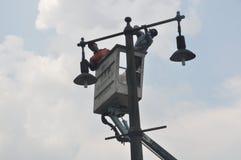 Instalacja latarnie uliczne Fotografia Royalty Free