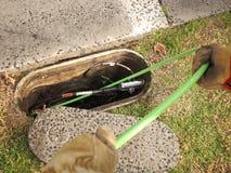 Instalacja zielonego Nylonowego jacketed 72 włókna światłowodowego tasiemkowy kabel Fotografia Stock