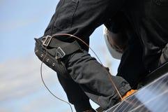 Instalador del panel solar Fotos de archivo