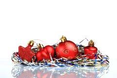 Instale el fondo de la tarjeta de felicitación de la Navidad, sobre el vidrio, cierre, aislado en el fondo blanco Fotografía de archivo