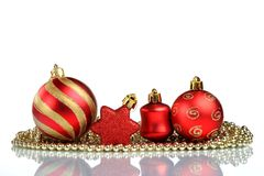 Instale el fondo de la tarjeta de felicitación de la Navidad, sobre el vidrio, cierre, aislado en el fondo blanco Imagen de archivo