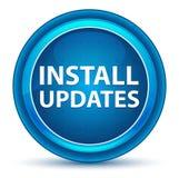 Instale las actualizaciones calculan visualmente el botón redondo azul ilustración del vector