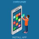Install download get mobile app flat 3d isometric vector. Install download get mobile app flat 3d isometry isometric concept web vector illustration. Young man Stock Photos
