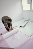Install insulation. Workers laid laminate in home renovation Stock Image