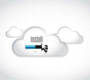 install loading bar cloud computing illustration Royalty Free Stock Photography