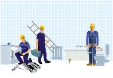Installateure und Monteure, die nach Hause konstruieren lizenzfreie abbildung