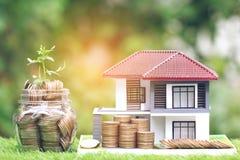 Installatie het groeien op muntstukkengeld in glasfles met modelhuis op natuurlijk groen achtergrond, rentevoeten en het Bank con stock fotografie