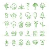 Installatie, het planten, zaad en van de bomenlijn vectorpictogrammen Spruit het groeien symbolen royalty-vrije illustratie