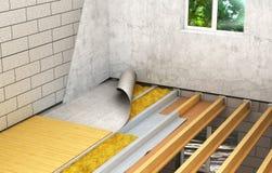 Installatie van houten vloeren tussen vloeren: gedetailleerde bouwtechnologie 3d royalty-vrije illustratie