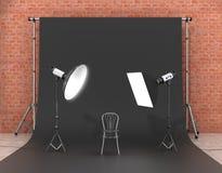 Installatie van verlichting in de fotostudio vector illustratie