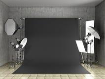 Installatie van verlichting in de fotostudio royalty-vrije illustratie