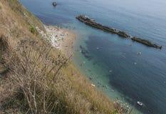 Installaties, blauwe overzees en mensen die - Durdle-Deur, Engeland zwemmen Stock Foto