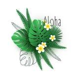 Installaties, de bladeren en de bloemen van Aloha Hawaii de tropische vector illustratie