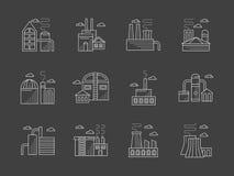 Installaties en fabrieken witte geplaatste lijnpictogrammen Royalty-vrije Stock Fotografie