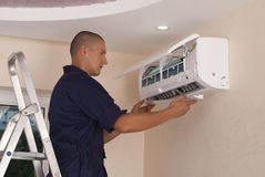 Installation of Air Conditioning royalty free stock photo