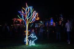 Installation au néon d'art de parc de chien la nuit blanc Geelong en Australie images stock