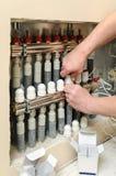Installation av hem- uppvärmning arkivfoton