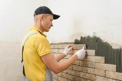 Installation av tegelplattorna på väggen Arkivbild