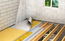 Installation av trägolv mellan golv: detaljerad konstruktionsteknologi 3d royaltyfri illustrationer