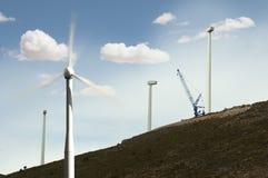 Installation av windturbiner Royaltyfri Foto