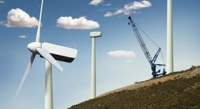 Installation av windturbiner Fotografering för Bildbyråer