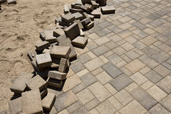 Installation of Brick Pavers Royalty Free Stock Photos