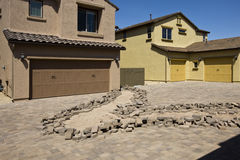 Installation of Brick Pavers Driveway Royalty Free Stock Photos