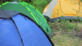 Installation of camping in a mountain forest in stock footage