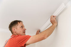 Installation of ceiling moldings. Stock Photo