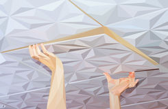 Installation of ceiling tiles made of polystyrene. Low polygon style  illustration Stock Photography