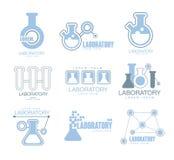 Installation chimique Logo Graphic Design Templates Set de laboratoire dans la couleur bleu-clair avec des silhouettes de tubes à Images stock