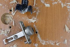 Installation of chipboard furniture in a carpentry workshop. Acc stock images