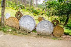 Installation with coins of different countries model Royalty Free Stock Photos