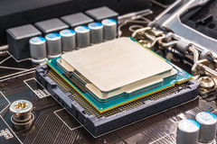 Installation of computer processor in the socket Royalty Free Stock Images