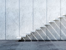 installation concrète des escaliers 3d sur le mur en pierre Photos libres de droits