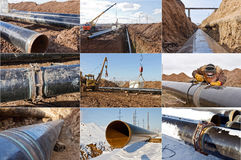 Installation and construction of the main pipeline welding Stock Images