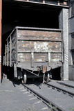 Installation for the coup (tipping) wagon (sometimes two) and sp. Ontaneous discharge of bulk cargo (grain, ore, coal, sand. Dumpers coal. CHP. 1 Wagon. Coal Royalty Free Stock Image