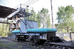 Installation for the coup (tipping) wagon (sometimes two) and sp. Ontaneous discharge of bulk cargo (grain, ore, coal, sand. Dumpers coal. CHP. 1 Wagon. Coal Stock Photography