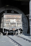 Installation for the coup (tipping) wagon (sometimes two) and sp. Ontaneous discharge of bulk cargo (grain, ore, coal, sand. Dumpers coal. CHP. 1 Wagon. Coal Royalty Free Stock Images