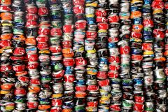 Installation of crushed cans Stock Image